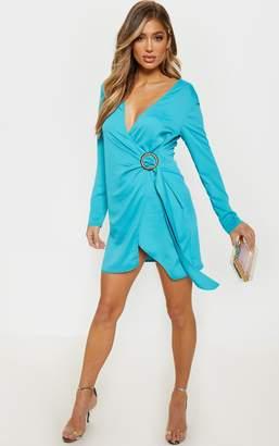 PrettyLittleThing Bright Blue Shoulder Pad Buckle Detail Shift Dress