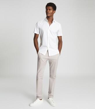 Reiss Eddie - Regular Fit Short Sleeved Shirt in White