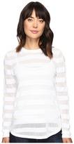 MICHAEL Michael Kors Sheer Stripe Long Sleeve Crew Women's Clothing