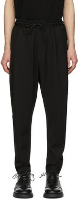 Isabel Benenato Black Wool Drawstring Trousers