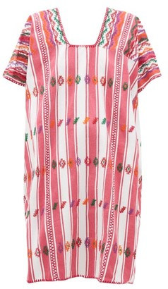 Pippa No.181 Embroidered Cotton Kaftan - Pink White