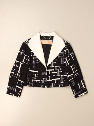 Elisabetta Franchi Cropped Jacket With All Over Logo