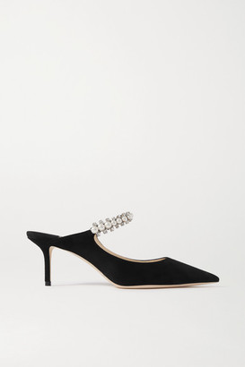 Jimmy Choo Bing 65 Embellished Suede Mules - Black