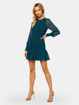 MISA Roisin Chiffon Long Sleeve Mini Dress