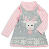 Iris & Ivy Girls 2-6x Knit Deer Dress and Striped Mockneck Tee