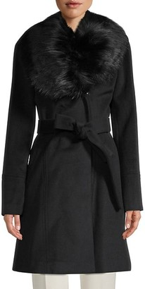 Karl Lagerfeld Paris Faux Fur-Collar Wool-Blend Coat