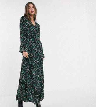 Y.A.S Tall wrap maxi dress with ruffle hem in mixed ditsy floral