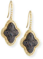 Armenta Old World Cluster Saddle Earrings with White & Champagne Diamonds and Black Sapphires
