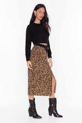 Nasty Gal Womens leopard split hem midi skirt - brown - 8