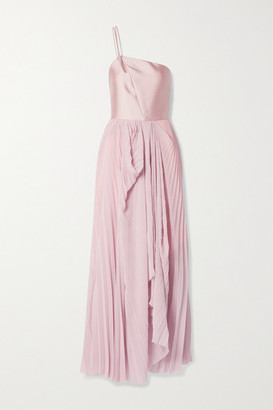 TRE by Natalie Ratabesi The Selenite Pleated Georgette And Silk-twill Gown - Blush