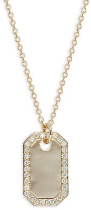 Saks Fifth Avenue 14K Yellow Gold Diamond Dog Tag Necklace
