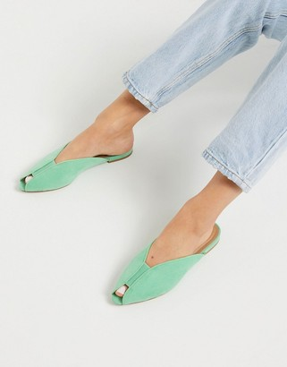 ASOS DESIGN Lido peep toe ballet flats in mint green