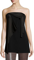 Halston Strapless Draped Crepe & Satin Combo Tunic, Black