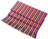 Multicolor Striped Cotton Table Runner from Guatemala, 'Rainbow Colors'