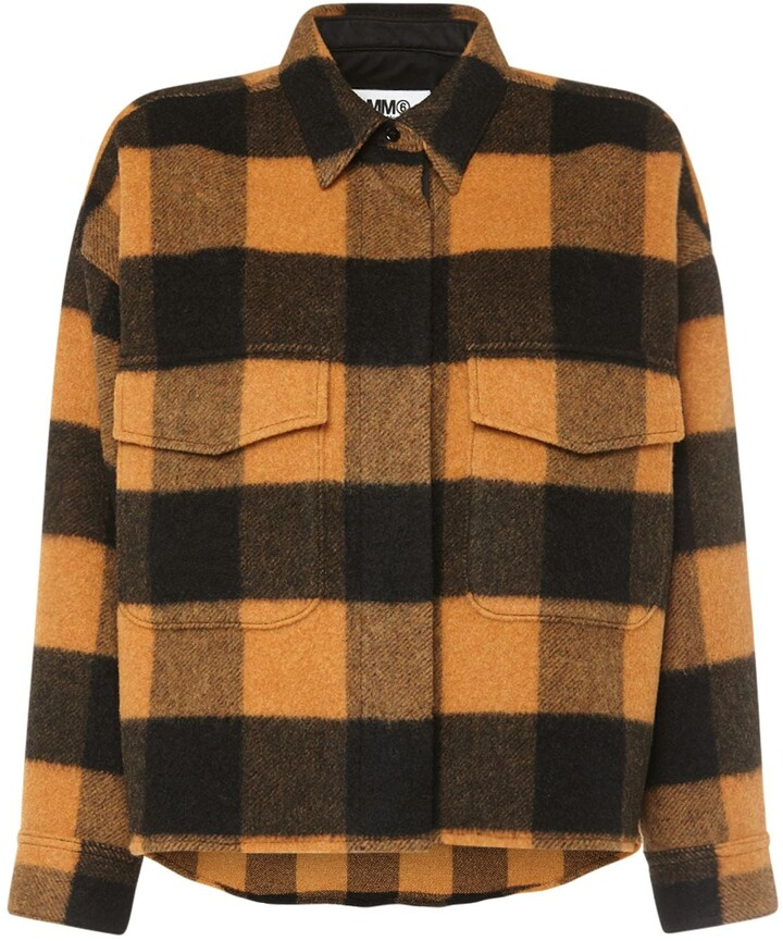 MM6 MAISON MARGIELA Canadian Check Wool Blend Short Jacket