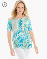 Chico's Geo Lagoon Cold-Shoulder Top