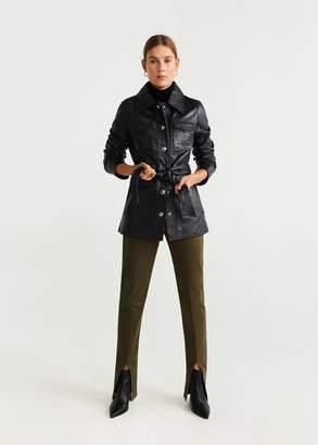 MANGO Pockets leather jacket black - XS - Women