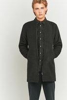Native North Black Wool Longline Bomber Jacket