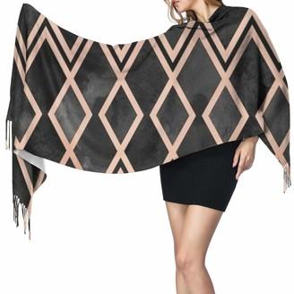 Gong Women Scarves Winter Long Soft Warm Copper & Black Geo Diamonds Cashmere-like Pashmina Shawls Wraps Tassel Shawl Stole Scarf