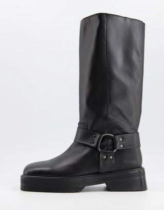 ASOS DESIGN Chilli premium leather harness knee boots in black