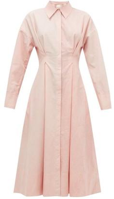 Ssone - Balance Pleated Cotton-poplin Midi Shirt Dress - Light Pink