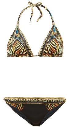 Camilla Lost Paradise Underwater-print Triangle Bikini - Womens - Black Multi