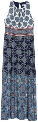 London Times Mandala Pleated Neck Sleeveless Jersey Maxi Dress (Petite)