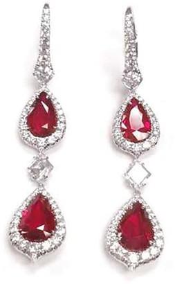 Bayco Platinum, Ruby And Diamond Drop Earrings