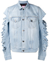 Palm Angels cut-out sleeves denim jacket