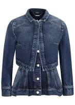 Alexander McQueen Dark Blue Peplum Denim Jacket
