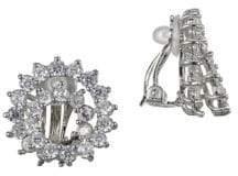 Nina E-Orella Silvertone Swirl CZ Clip Earrings