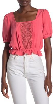 Lumiere Lace Trim Short Sleeve Top