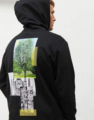 HUGO Darbin overhead hoodie with back print in black