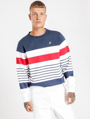 Le Coq Sportif Marcel Pullover Sweater in Dress Blues