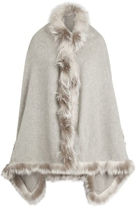 William Sharp Fur-Trim Wrap Scarf