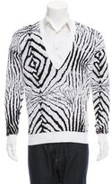 Just Cavalli Abstract Patterned V-Neck Sweater w/ Tags