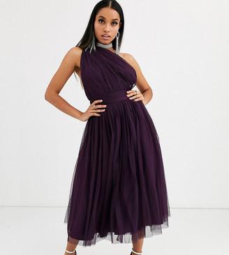 ASOS DESIGN Petite one shoulder tulle midi dress