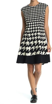 London Times Houndstooth Cap Sleeve Fit & Flare Dress
