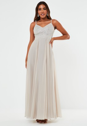 Missguided Grey Sequin Double Strap Cami Maxi Bridesmaid Dress