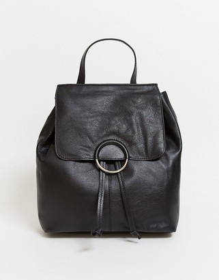 Urban Code Urbancode leather backpack with ring detail in black