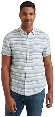 Lucky Brand Short Sleeve San Gabriel One-Pocket Shirt (Blue/White Stripe) Men's Clothing