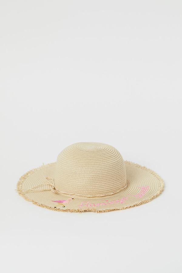 H&M Straw Hat with Design - Beige
