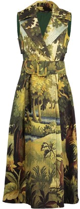 Oscar de la Renta Printed Sleeveless Trench Dress