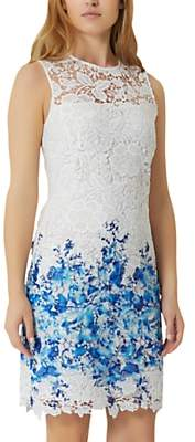 Damsel in a Dress Amily Boarder Dress, White/Blue