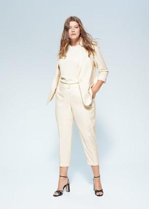 MANGO Violeta BY Straight suit pants beige - S - Plus sizes