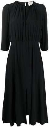 Semi-Couture Gathered Mid-Length Dress