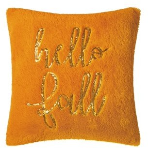 Vcny Home VCNY Home Hello Fall Sequins Decorative Pillow, 16 x 16, Orange