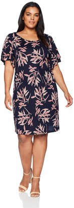 Lucky Brand Women's Size Plus Printed Ruffle Dress in Pink Multi 3X