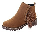 Fheaven Womens Short Ankle Boots Winter Tassel Martin Boots Shoes Chunky Block Heel Shoes Non-Slip (7, Brown)