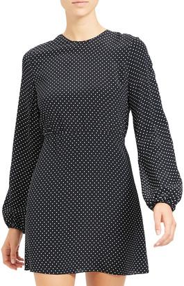 Theory Polka Dot Crewneck Long-Sleeve Mini Crepe Dress